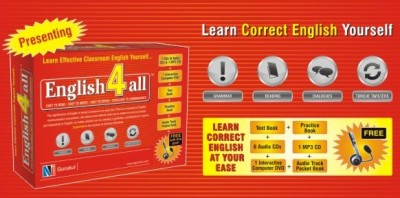 ENGLISH 4 ALL English4all is a distance learning programme which will help learner to understand and learn the language in an effective way. English4all comes complete in form of a packaged box containing the following items: (i) Seven Cds (Six audio Cds and one MP3 CD), (ii) One interactive computer DVD,  (iii) A text book,  (iv) A practice book,   (v)Audio track pocket book, (vi) HeadPhone (FREE GIFT)